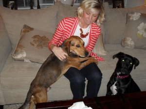 Mayer feels at home with his new owner, Meg Howell, and sister, Stella. Photo: Annette Birch