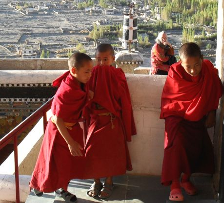 Drenge under uddannelse som munke i Thiksey-klostret. Foto: Annette Birch.
